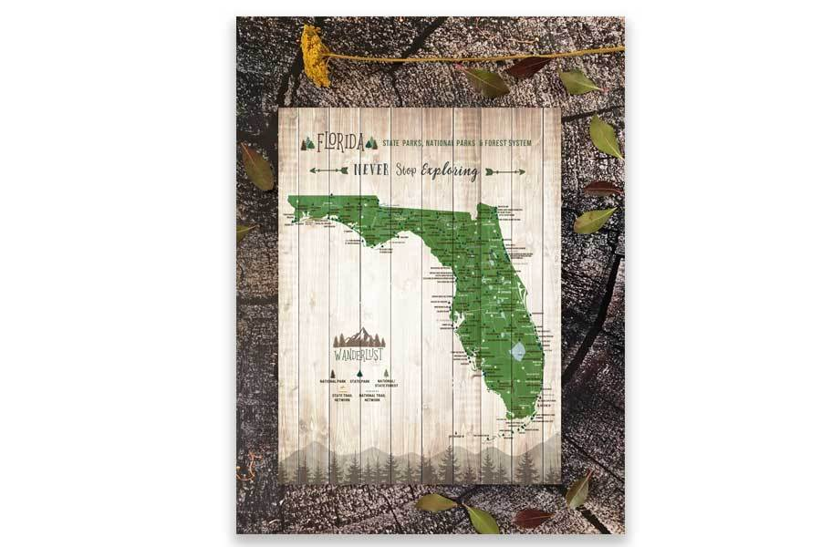 Map of Florida State Parks, Canvas Push Pin Board