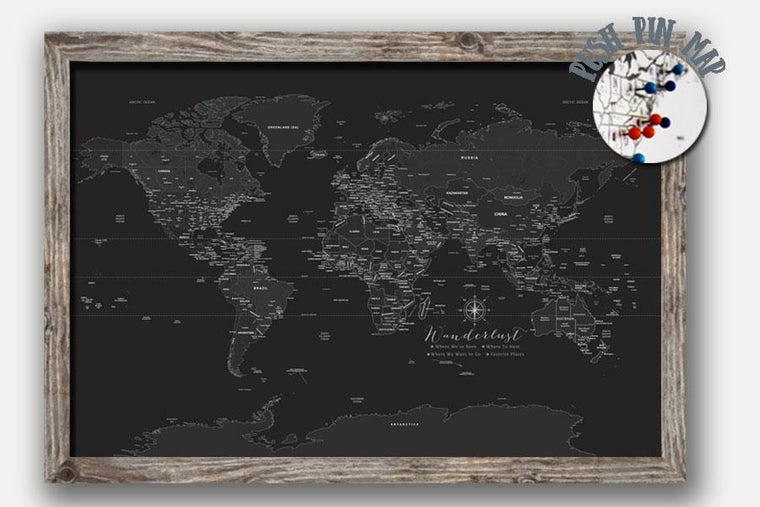 Push Pin Map, Black & White Customizable World Map Map World Vibe Studio