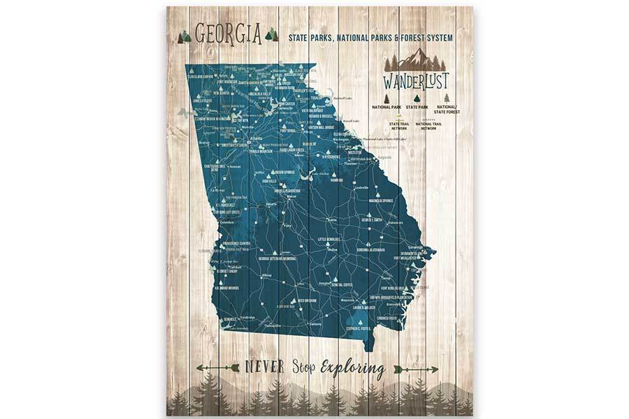 Georgia State, State Park Map, Canvas, Ready to Hang Map World Vibe Studio 12X16 Navy-Blue
