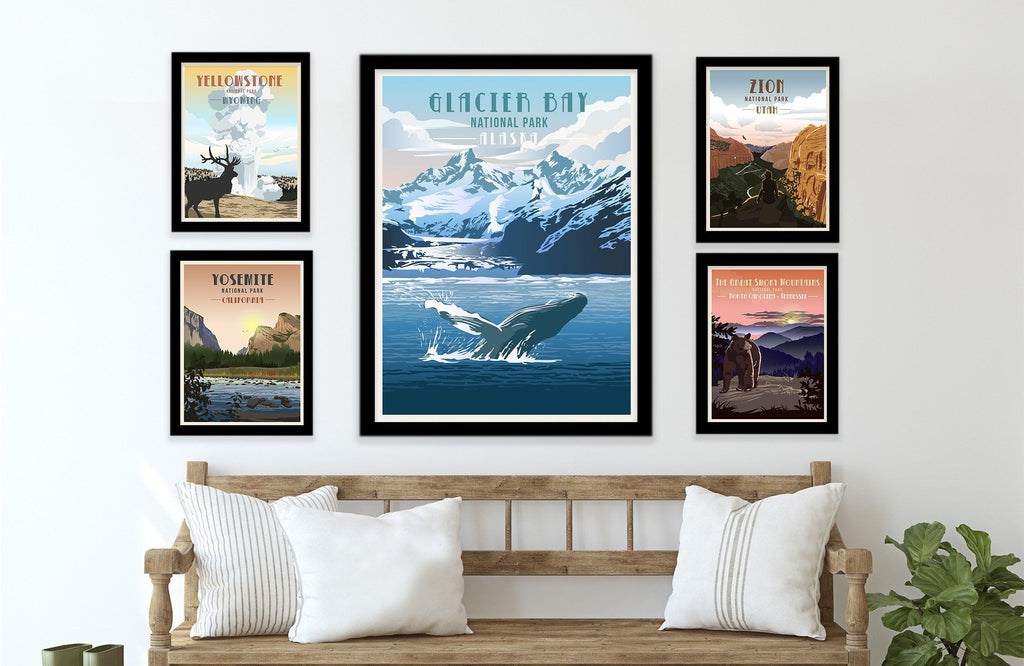 Glacier Bay National Park, Alaska Poster, Unframed Map World Vibe Studio