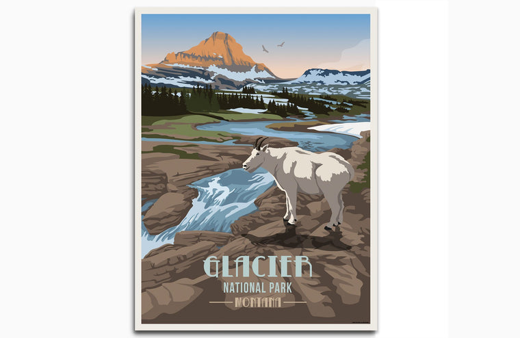 Glacier National Park Poster, Montana Prints, Unframed Map World Vibe Studio