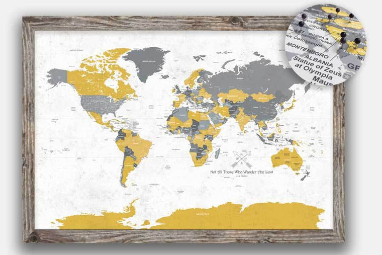 Gold, Cream & Gray, Framed, World Map Push Pin Travel Map World Vibe Studio