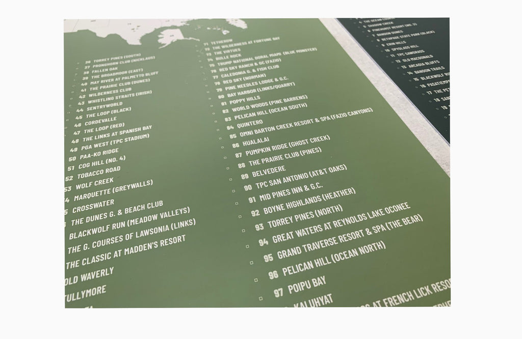 Top US 100 PUBLIC Golf Courses Poster Checklist, Unframed Map World Vibe Studio