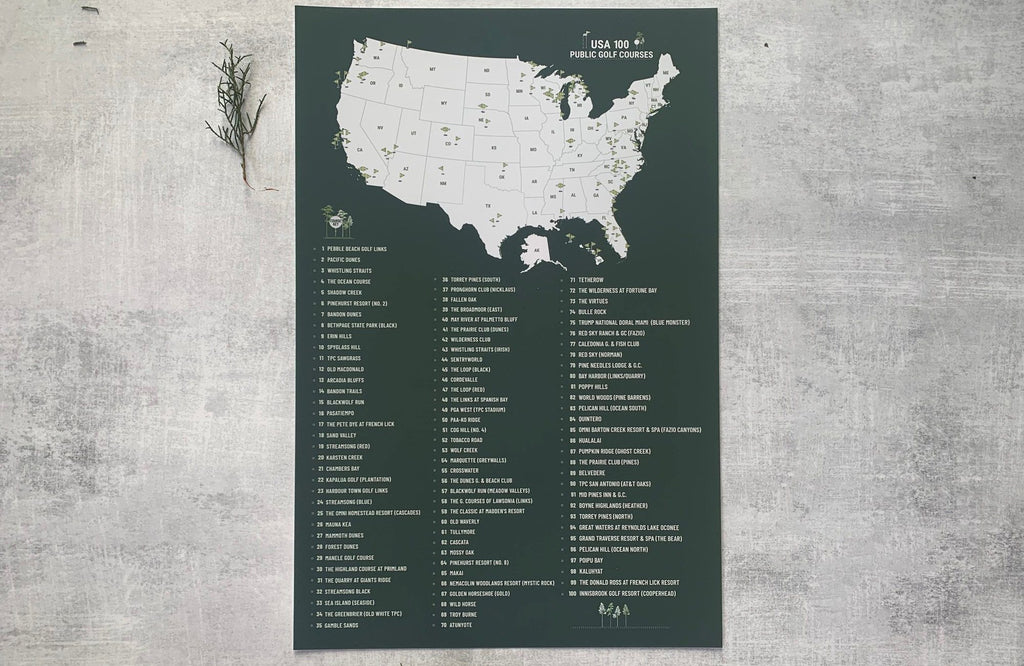 Top US 100 PUBLIC Golf Courses Poster Checklist, Unframed Map World Vibe Studio 12X18 Hunter