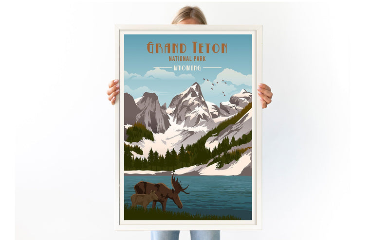 Grand Teton National Park Poster, National Park Poster, National Park Wall Art, Unframed Map World Vibe Studio