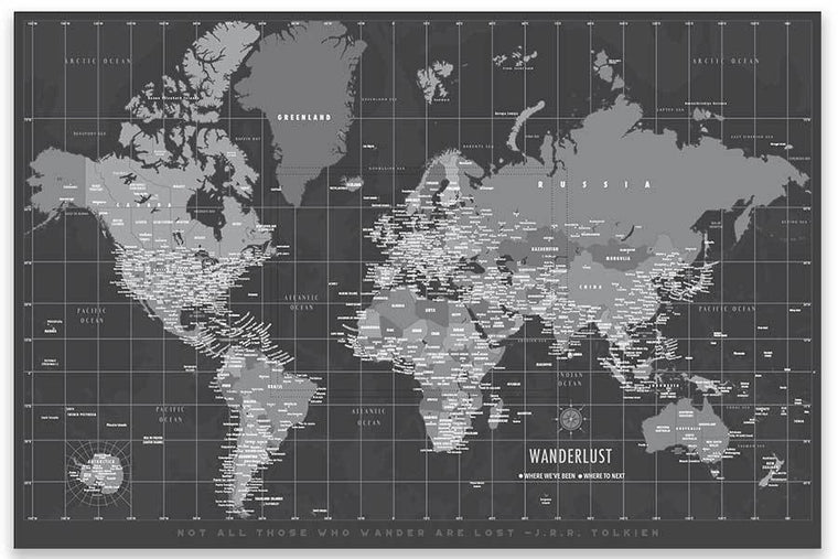 Modern Gray World Map on Canvas Map World Vibe Studio