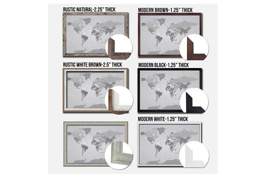 World Map Poster, Gray and White, Framed and Personalized options Map World Vibe Studio