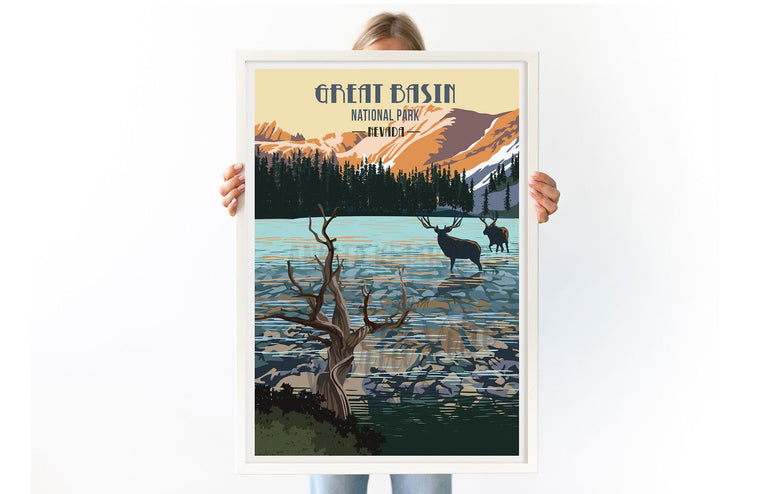 Great Basin National Park, Nevada, National Park Posters, Unframed Map World Vibe Studio