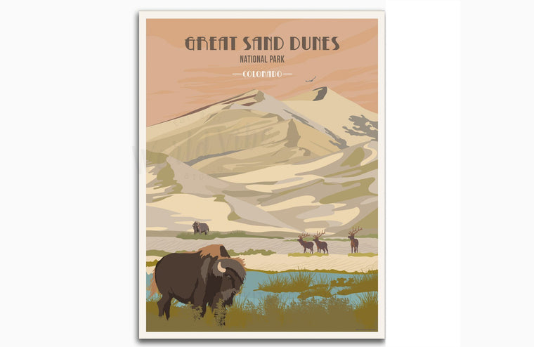 Great Sand Dunes National Park Poster, National Park Poster, National ParkWall Art, Unframed Map World Vibe Studio 8X10