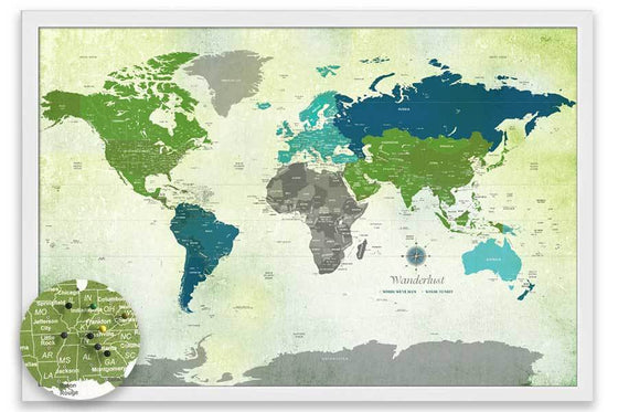 Watercolor World Map, Green and Blue, Personalized, Framed Map World Vibe Studio
