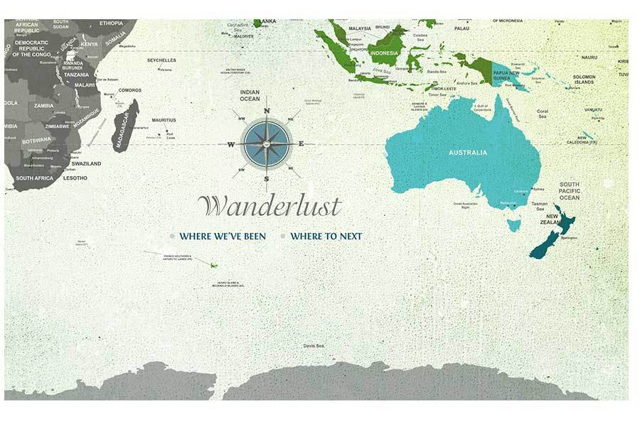 Watercolor World Map, Green and Blue, Poster Map World Vibe Studio