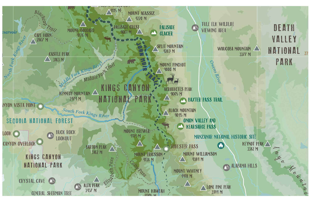 High Sierra TRAIL MAP, CANVAS WITH PUSH PINS Map World Vibe Studio