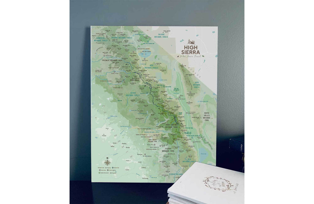 High Sierra Map, John Muir Trail Poster, Paper Print Map World Vibe Studio