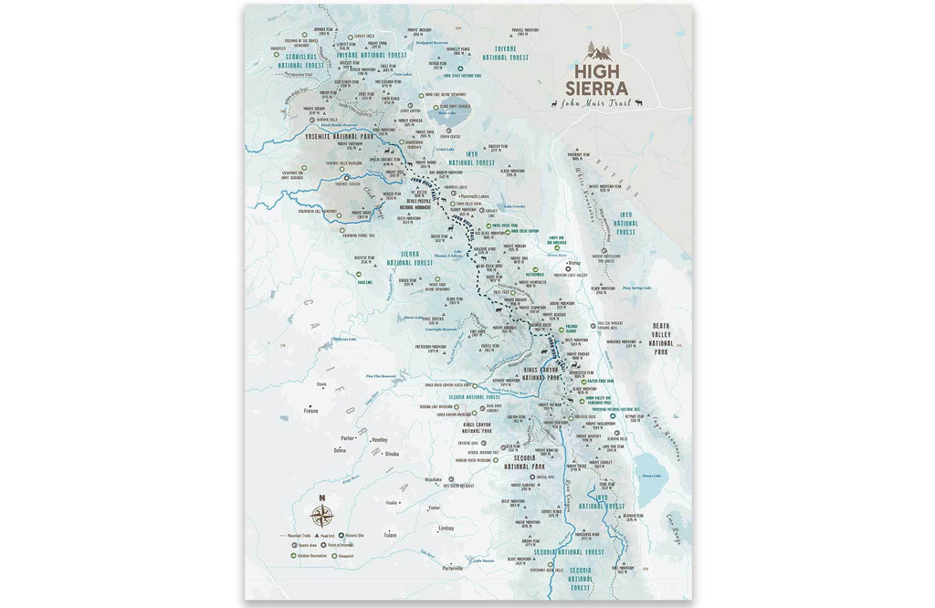 High Sierra Map, John Muir Trail Poster, Paper Print Map World Vibe Studio 12X16 ski-blue