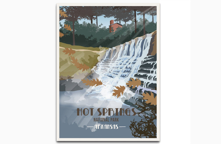 Hot Springs National Park, Arkansas, National Park Poster, Unframed Map World Vibe Studio 8X10