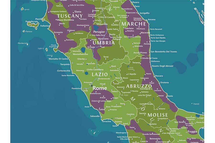 Wine Regions Of Italy, Map Poster Map World Vibe Studio