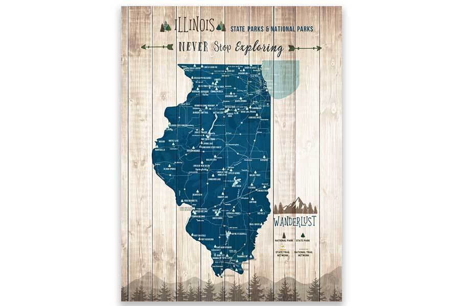 Illinois Map, State park Map, Hiking Wall Decor Map World Vibe Studio 12X16 Navy-Blue