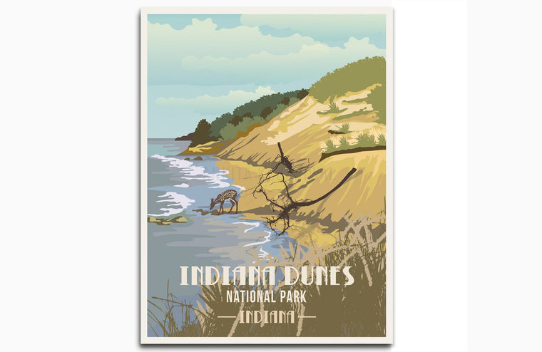 Indiana Dunes National Park, Indiana, National Park Poster, Unframed Map World Vibe Studio 8X10