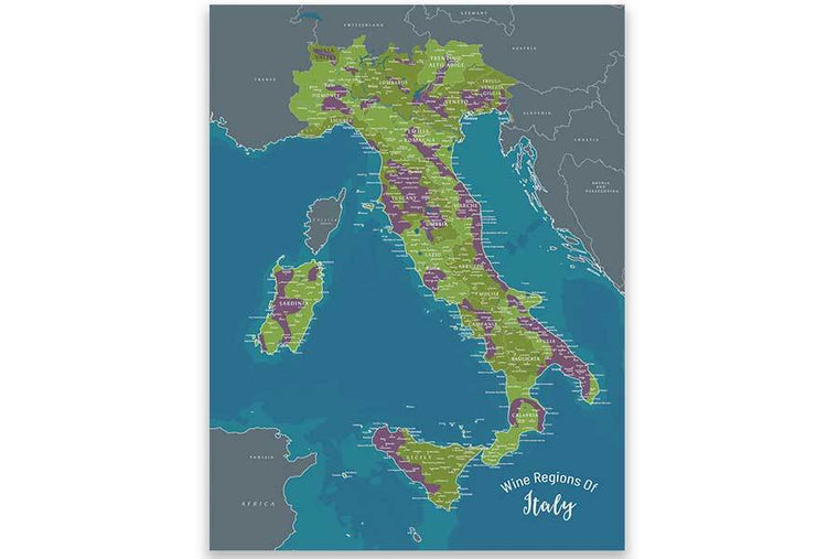 Wine Regions Of Italy, Map Poster Map World Vibe Studio 18X24