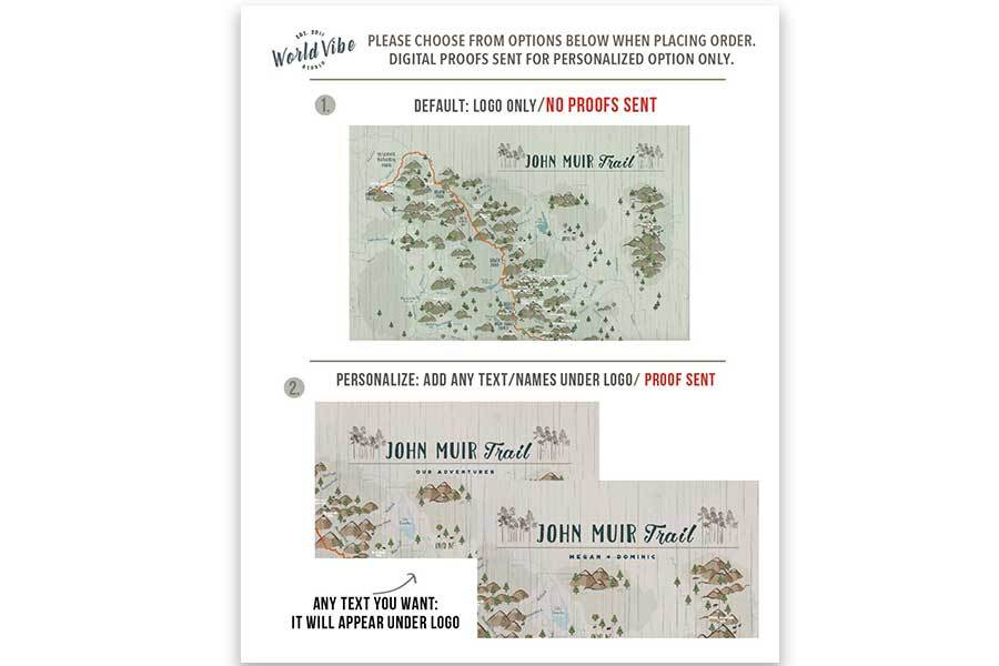 JOHN MUIR TRAIL MAP, CANVAS WITH PUSH PINS Map World Vibe Studio