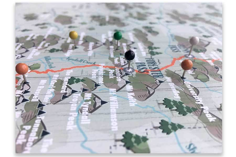 John Muir Trail Map, Foam mounted for Pins, Push Pin Map Map World Vibe Studio