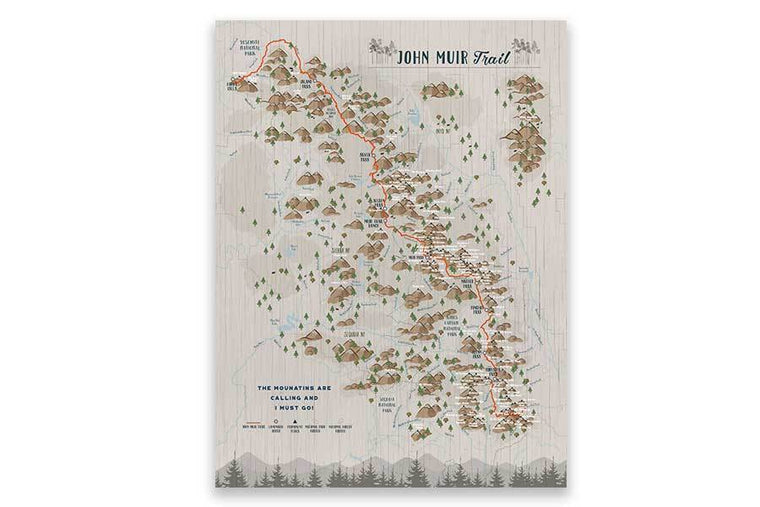 John Muir Trail Poster, Paper Print Map World Vibe Studio 12X16 Tans