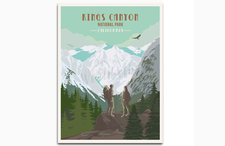 Kings Canyon National Park Poster, California, National Park Posters, Unframed Map World Vibe Studio 8X10