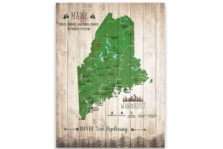 Maine State Park Map, Wall Art