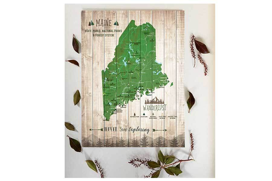 Maine State Park Map, Wall Art Map World Vibe Studio