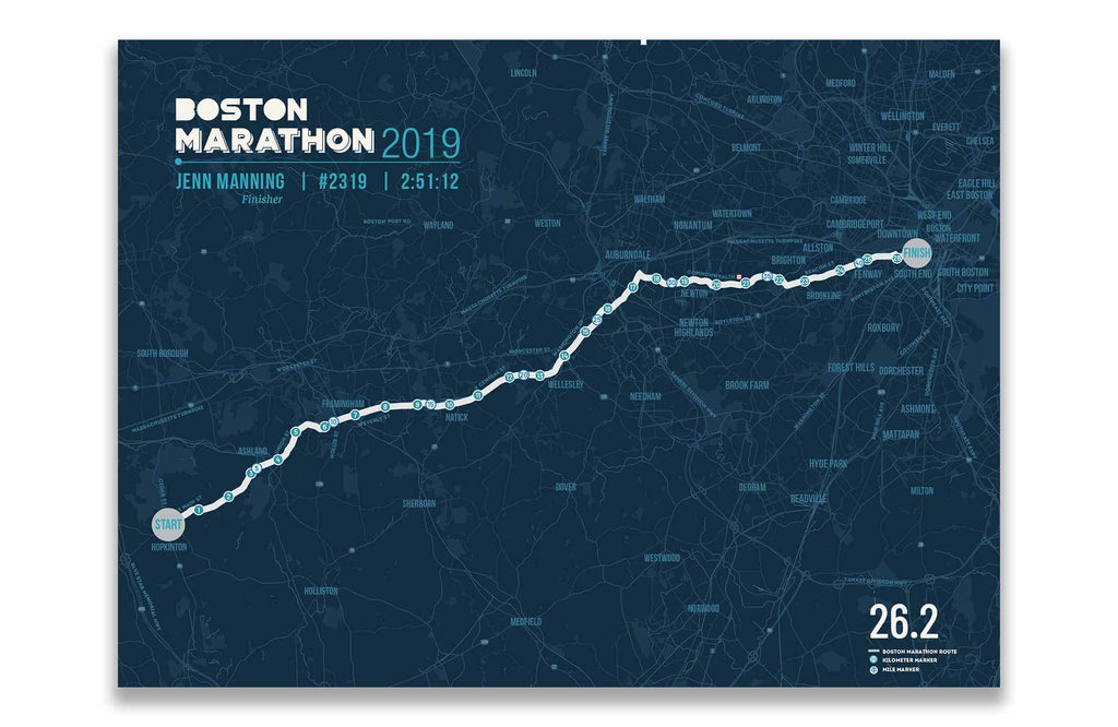 Boston Marathon Map Canvas, Many Sizes Map World Vibe Studio 12X16 Navy-Blue