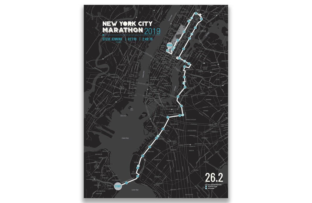 New York Marathon Map Canvas, Many Sizes Map World Vibe Studio 12X16 Black