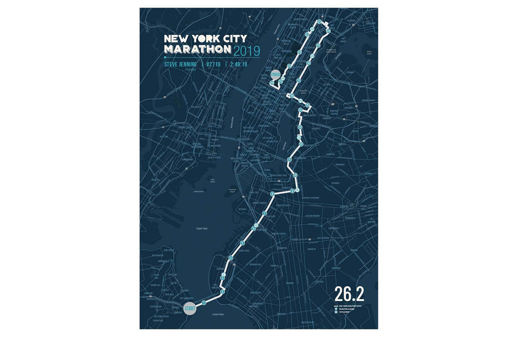 New York Marathon Map Canvas, Many Sizes Map World Vibe Studio 12X16 Navy-Blue