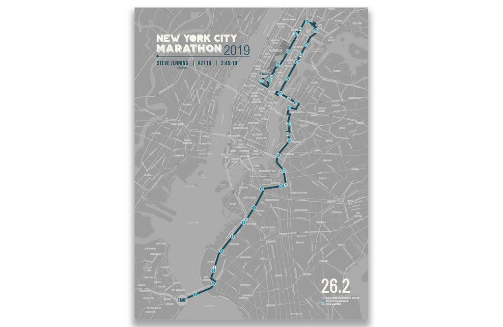 New York Marathon Map Canvas, Many Sizes Map World Vibe Studio 12X16 Gray