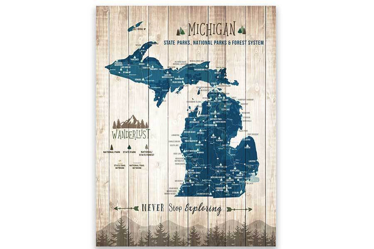 Michigan State Park Map, Canvas, Push Pin Map World Vibe Studio 12X16 Navy-Blue