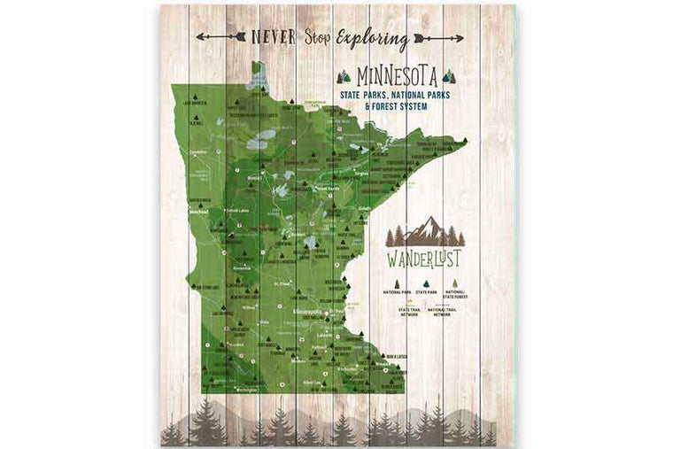 Minnesota State Park Map, Canvas, Pin Board Map World Vibe Studio 12X16 Green