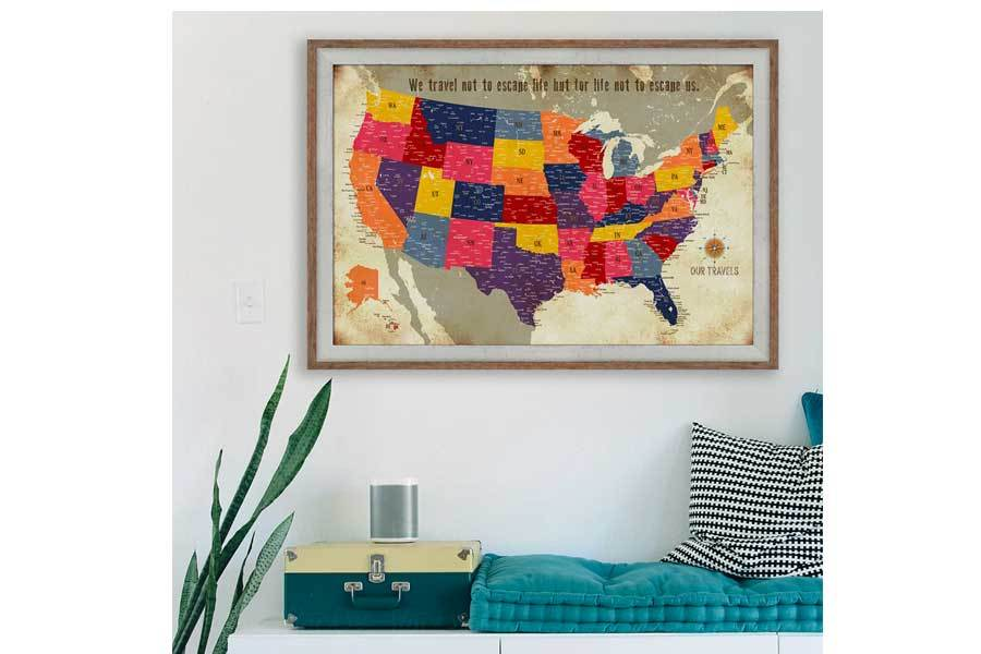 Detailed Framed map, Colorful Distressed Style, USA Map World Vibe Studio