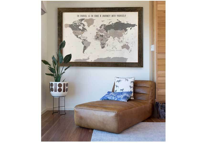 40X60 Inches, Rustic Cream and Beige Extra Large, Framed Map World Vibe Studio