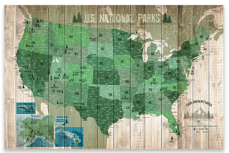 National Park Map with Many cities, Poster (Unframed) Map World Vibe Studio 24X36 Poster Only