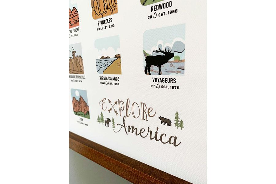 National Park Poster Canvas, Wood rail Wall Hanging Map World Vibe Studio