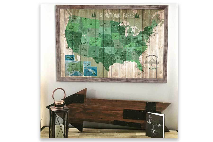 National Park Map with Many cities, Framed, Push Pin Map Map World Vibe Studio