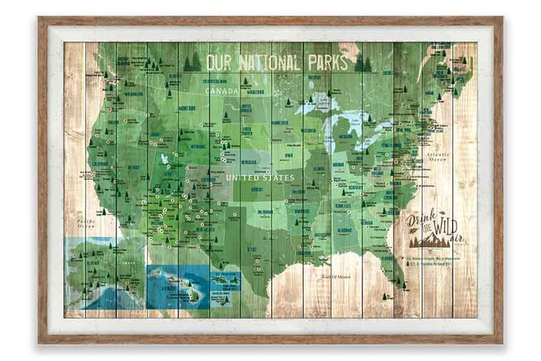 National Parks Push Pin Map, Framed Map World Vibe Studio