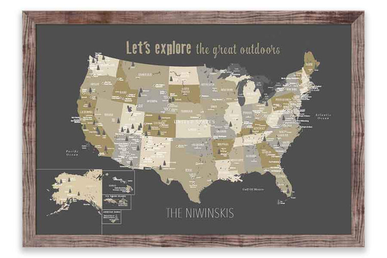 Framed Rustic Brown map, National Parks of America Map World Vibe Studio