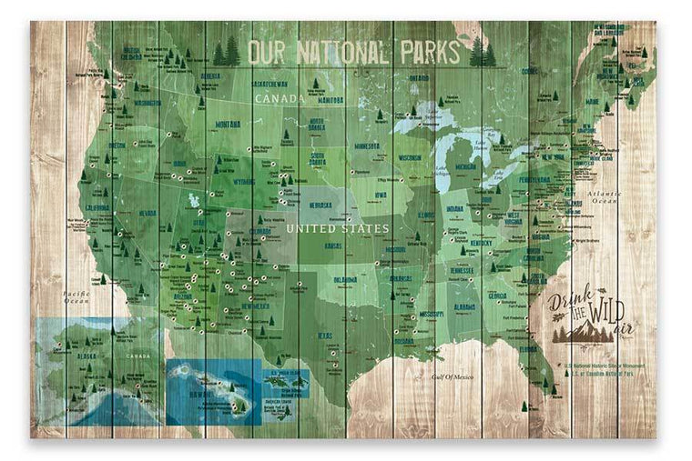 National Park Map, 61 Parks of USA, Forest Green Map World Vibe Studio