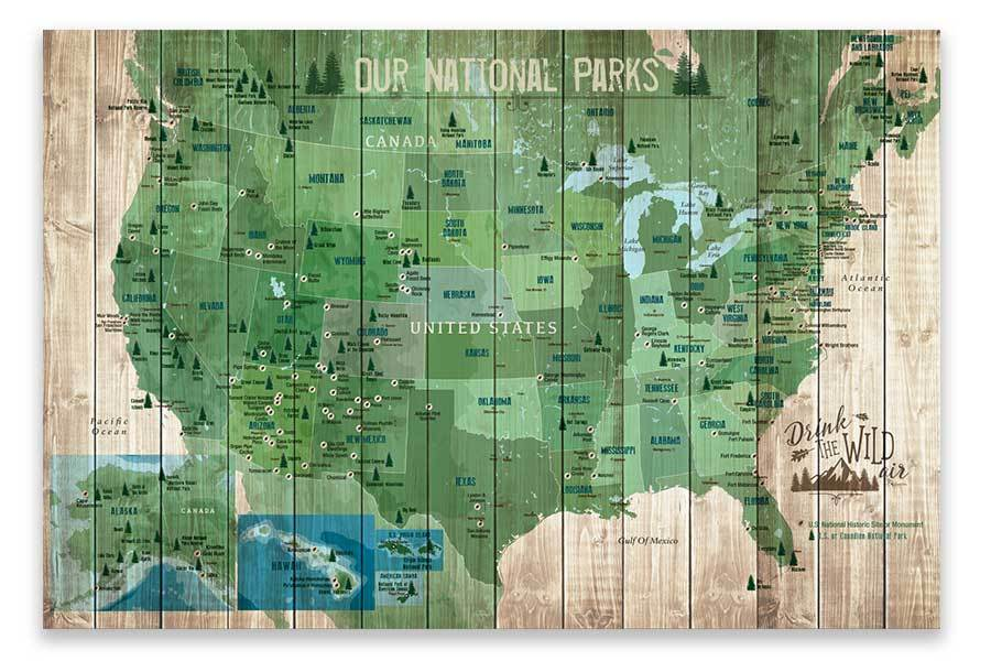 National Parks Map, Foam Mounted, Push Pin Board Map World Vibe Studio 18X24 Green