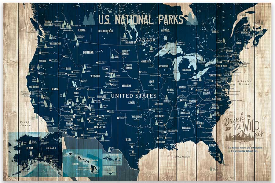 National Parks Map, Push Pin Canvas Board Map World Vibe Studio 18X24 Navy