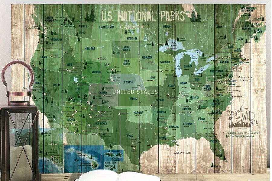 National Parks Map, Foam Mounted, Push Pin Board Map World Vibe Studio