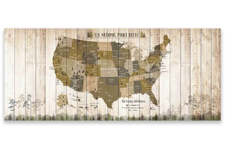 National Parks Memory Board, Canvas Map Push Pin Style, Tan Map World Vibe Studio 18X42 Tan