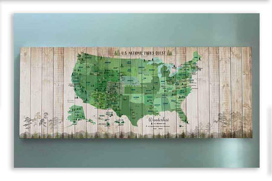 National Parks Memory Board, Canvas Map Push Pin Style, Tan Map World Vibe Studio 18X42 Green
