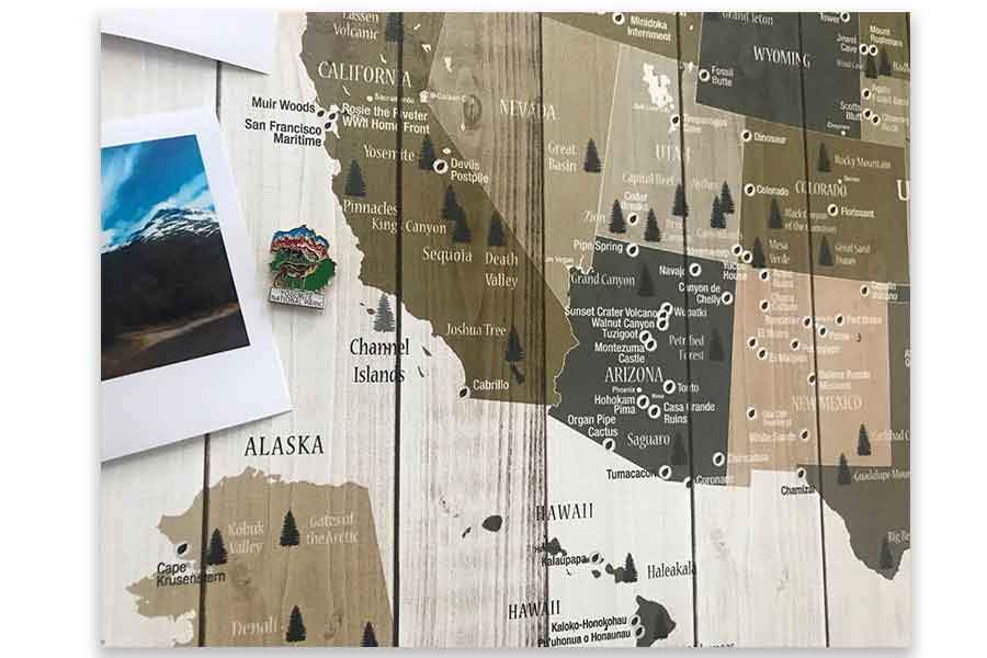National Parks Memory Board, Canvas Map Push Pin Style, Tan Map World Vibe Studio