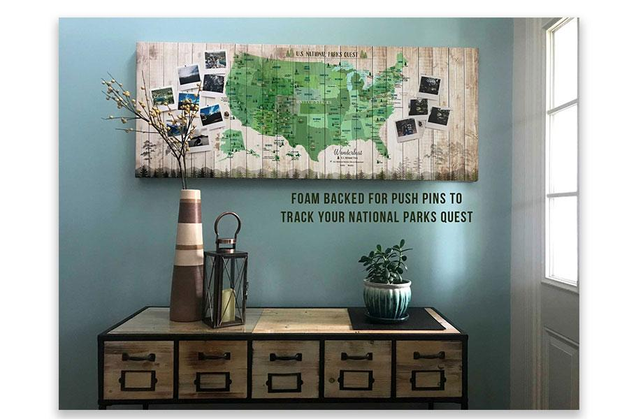 National Parks Photo Board, Push Pin Canvas Board, Forest Green Map World Vibe Studio